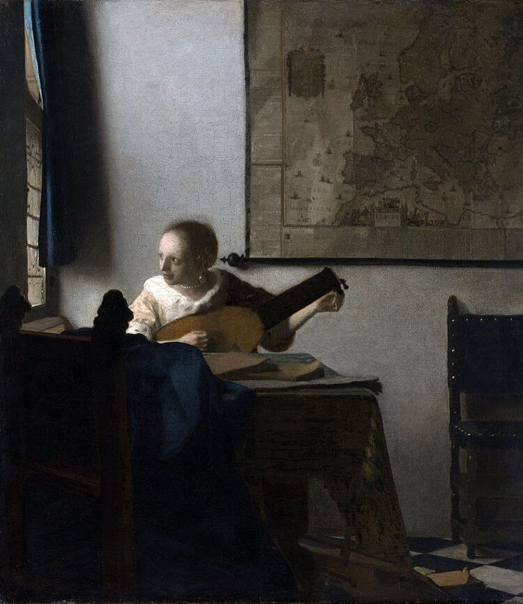 Woman with a Lute, 1662 by Johannes Vermeer